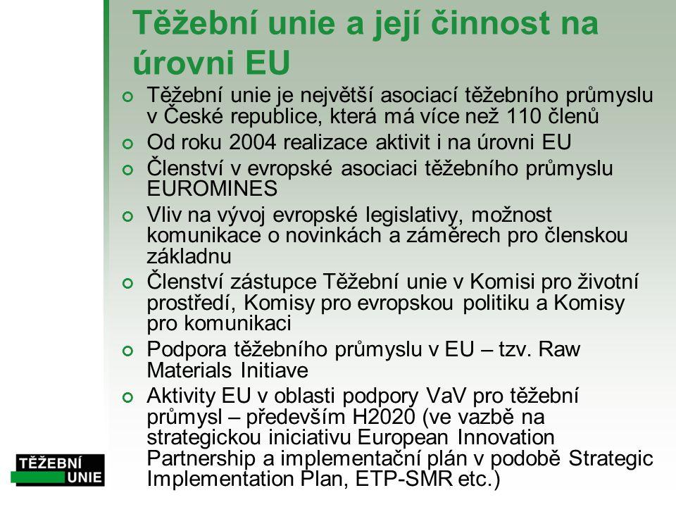 Těžební unie a její činnost na úrovni EU