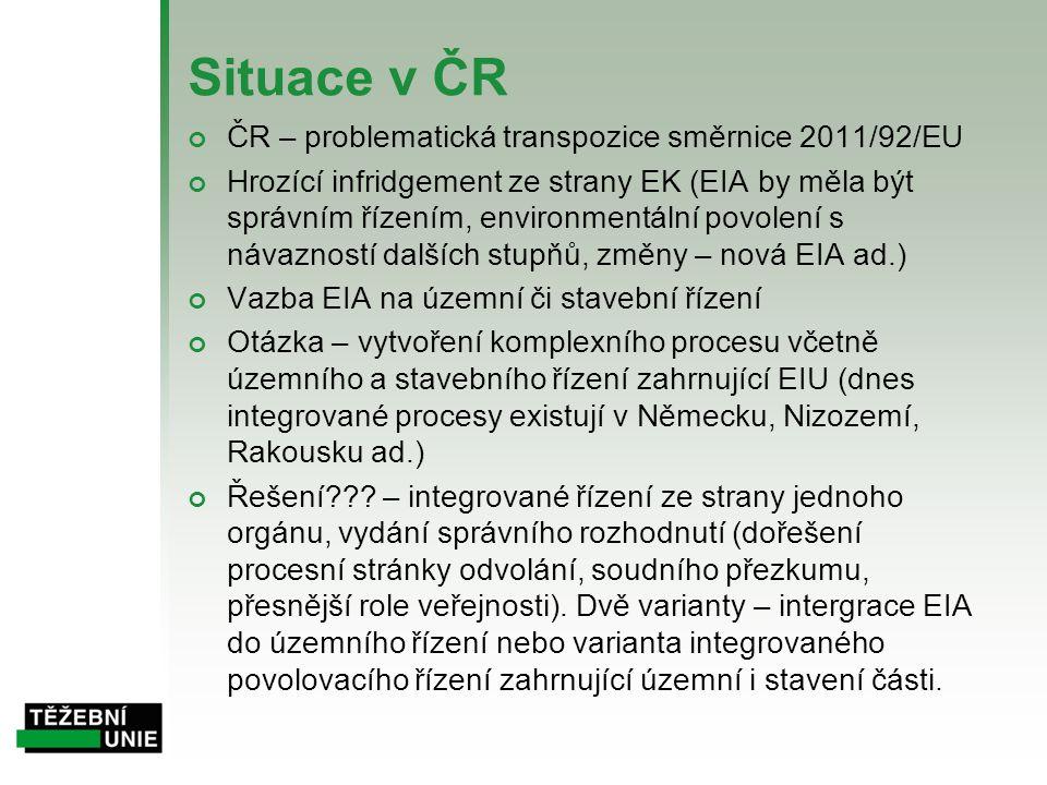 Situace v ČR ČR – problematická transpozice směrnice 2011/92/EU