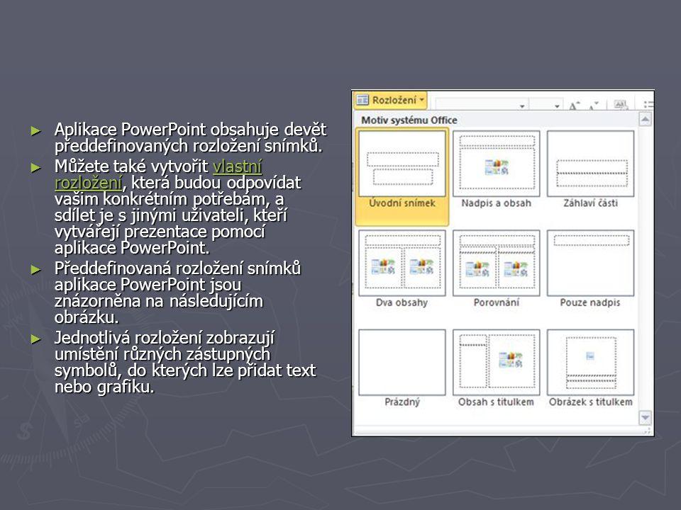 Aplikace PowerPoint obsahuje devět předdefinovaných rozložení snímků.