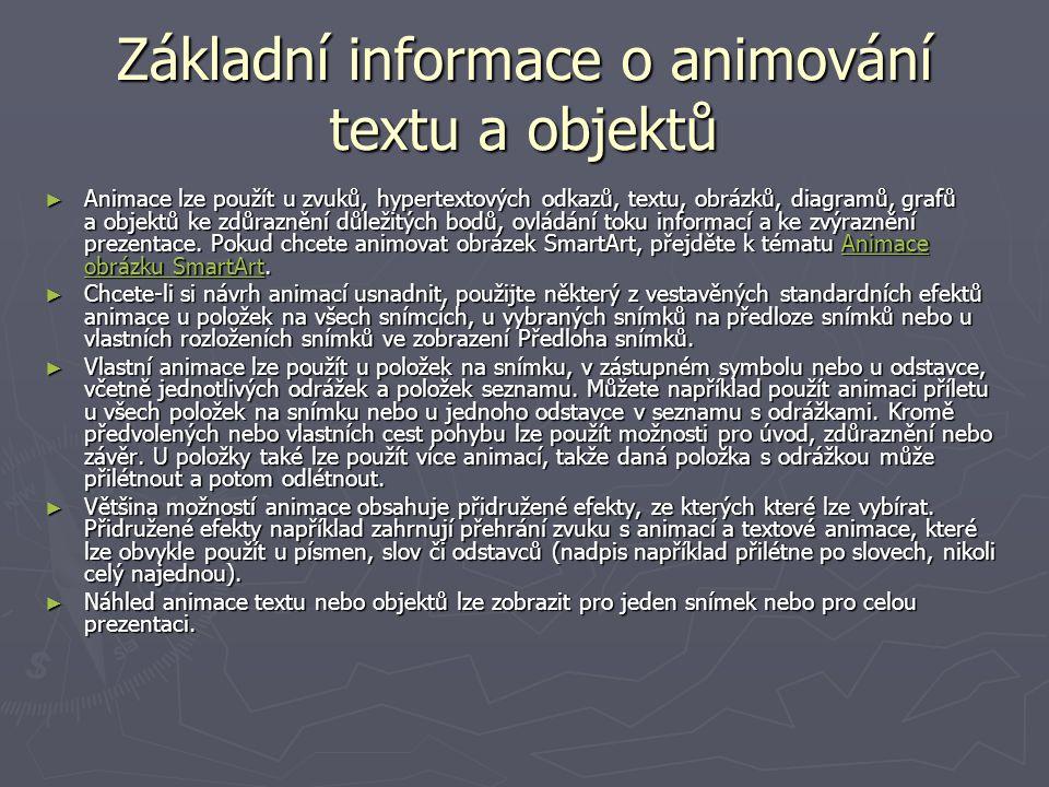 Základní informace o animování textu a objektů