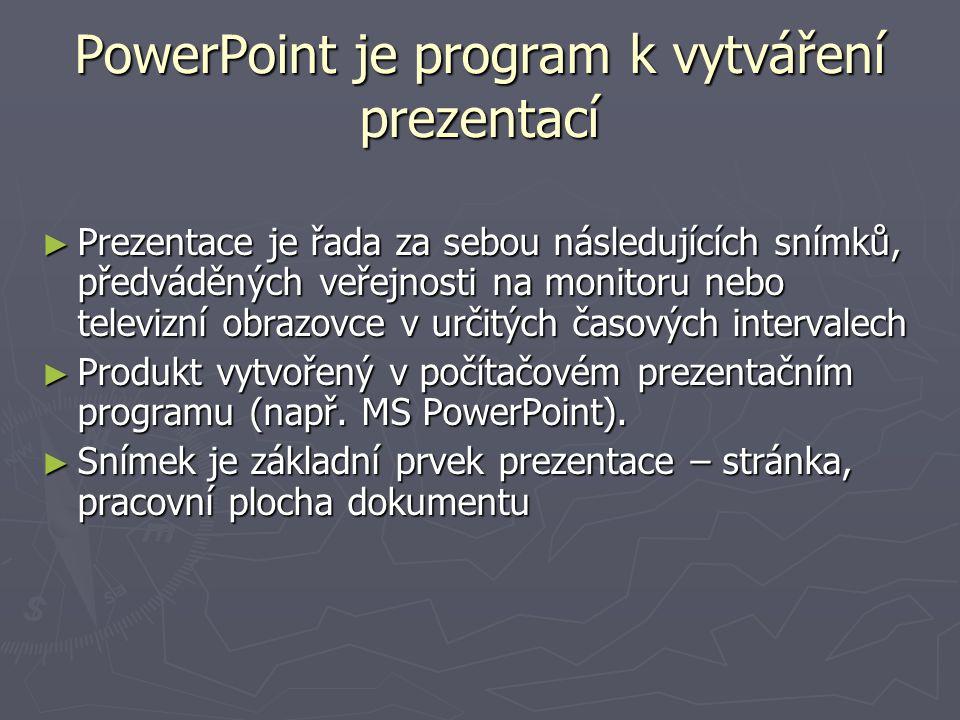 PowerPoint je program k vytváření prezentací