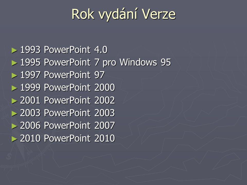 Rok vydání Verze 1993 PowerPoint 4.0 1995 PowerPoint 7 pro Windows 95