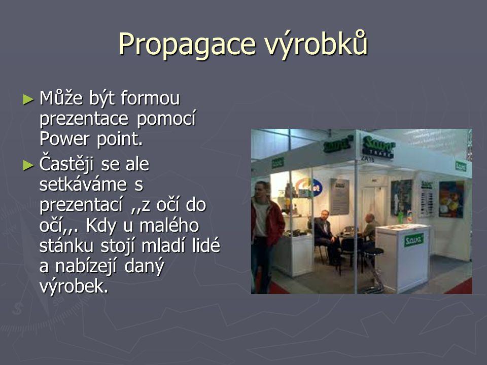 Propagace výrobků Může být formou prezentace pomocí Power point.