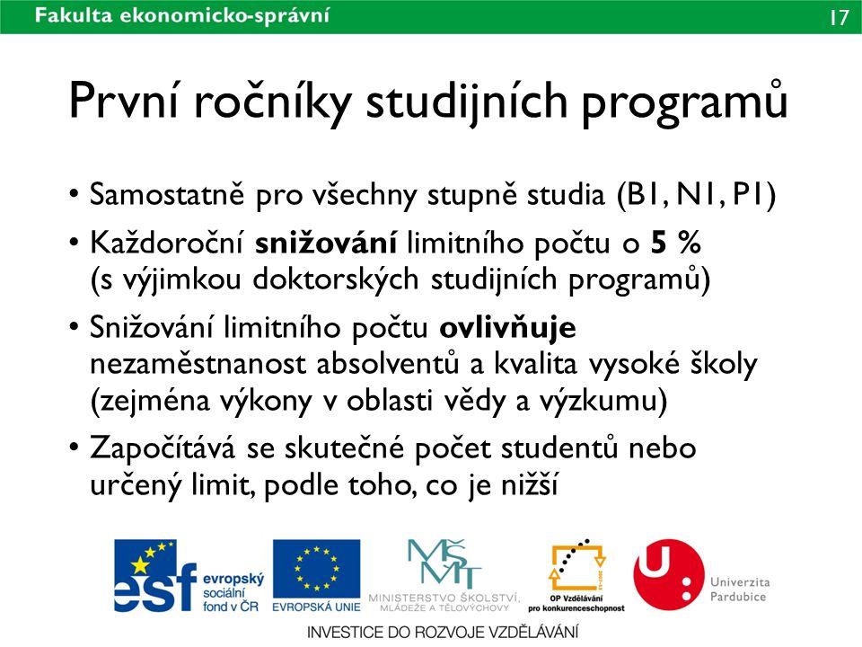 První ročníky studijních programů