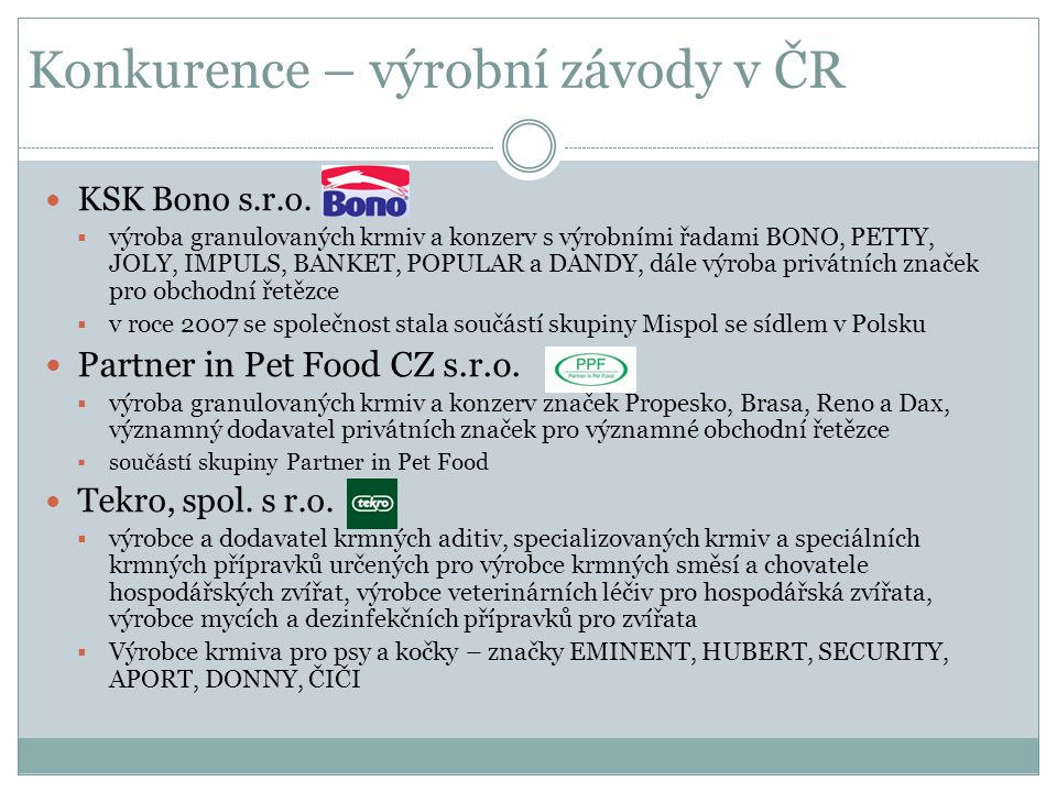 Konkurence – výrobní závody v ČR