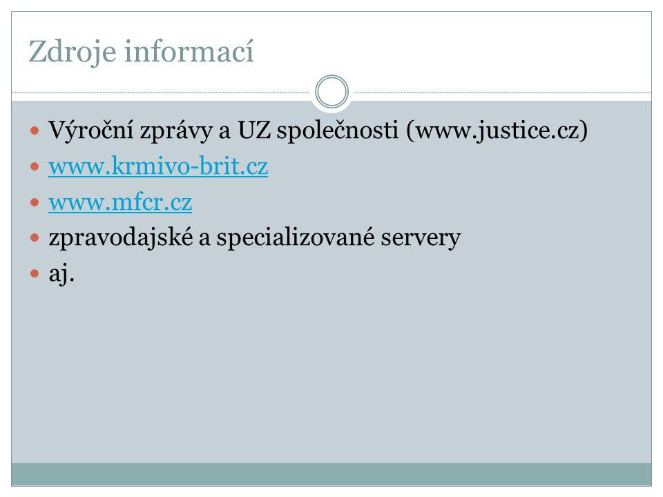 Zdroje informací Výroční zprávy a UZ společnosti (www.justice.cz)