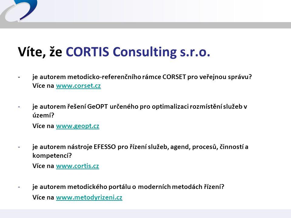 Víte, že CORTIS Consulting s.r.o.
