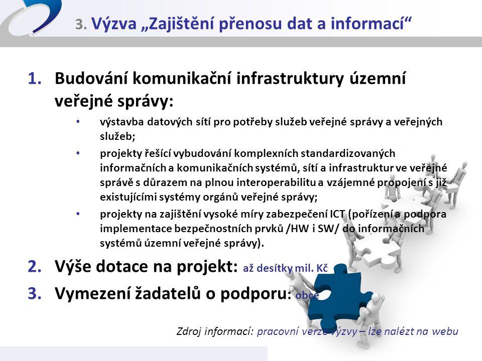 """3. Výzva """"Zajištění přenosu dat a informací"""