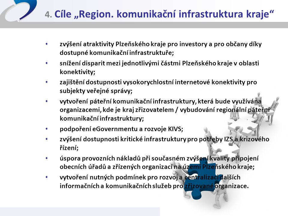 """4. Cíle """"Region. komunikační infrastruktura kraje"""