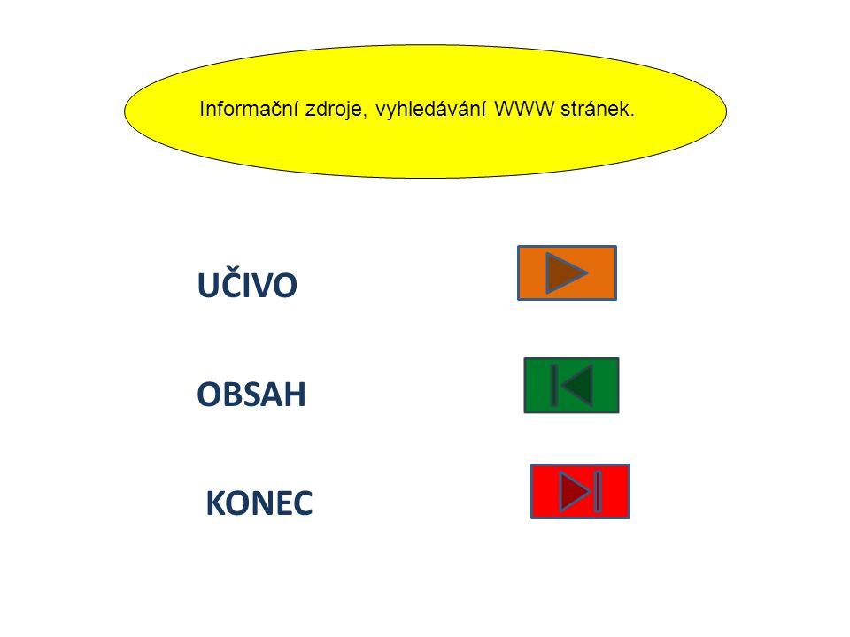 Informační zdroje, vyhledávání WWW stránek.