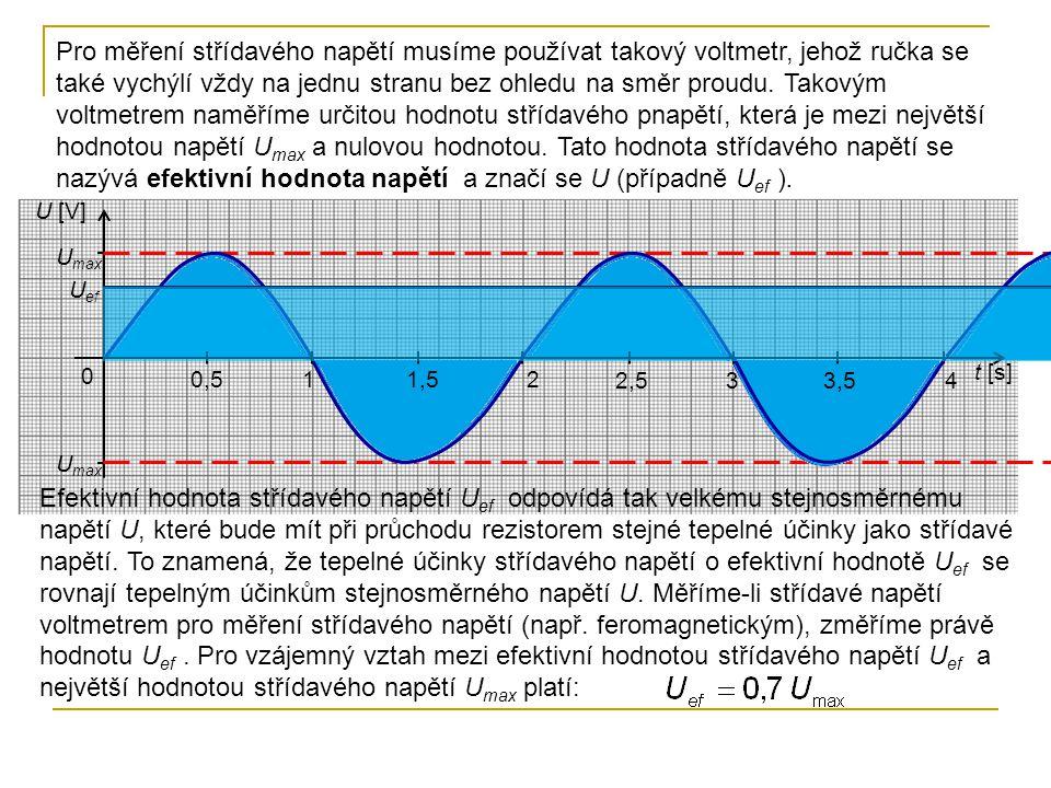 Pro měření střídavého napětí musíme používat takový voltmetr, jehož ručka se také vychýlí vždy na jednu stranu bez ohledu na směr proudu. Takovým voltmetrem naměříme určitou hodnotu střídavého pnapětí, která je mezi největší hodnotou napětí Umax a nulovou hodnotou. Tato hodnota střídavého napětí se nazývá efektivní hodnota napětí a značí se U (případně Uef ).