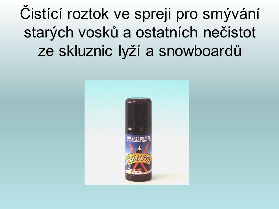 Čistící roztok ve spreji pro smývání starých vosků a ostatních nečistot ze skluznic lyží a snowboardů