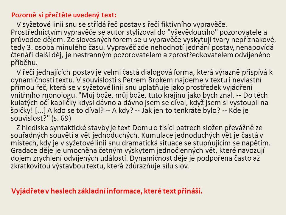 Vyjádřete v heslech základní informace, které text přináší.
