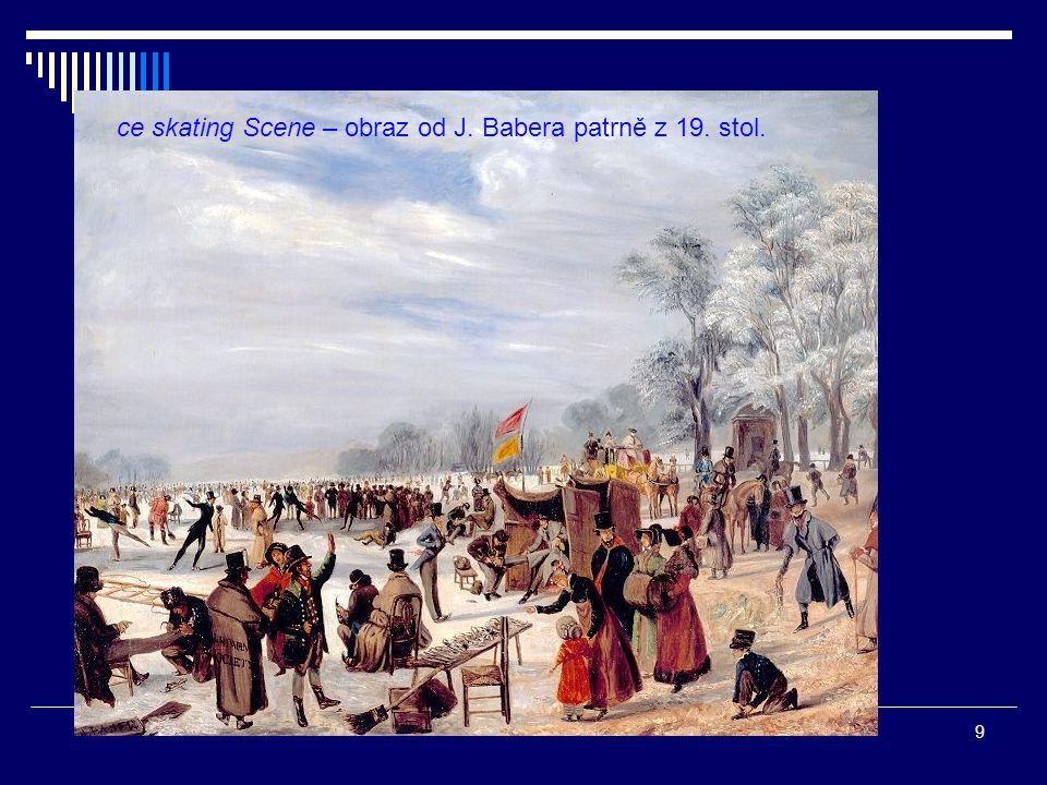 ce skating Scene – obraz od J. Babera patrně z 19. stol.
