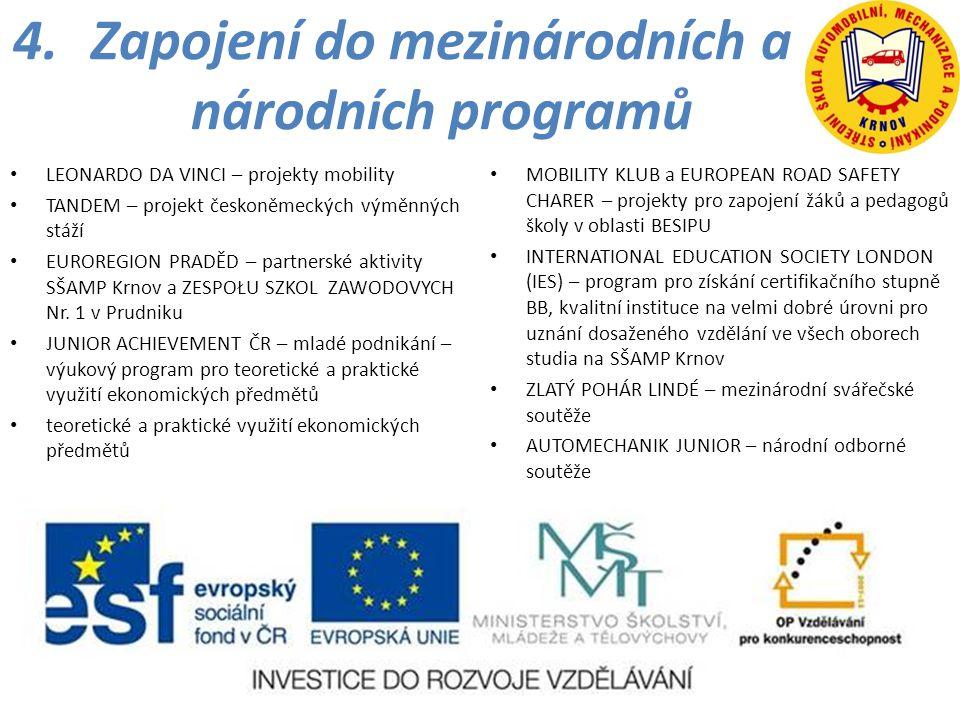 Zapojení do mezinárodních a národních programů