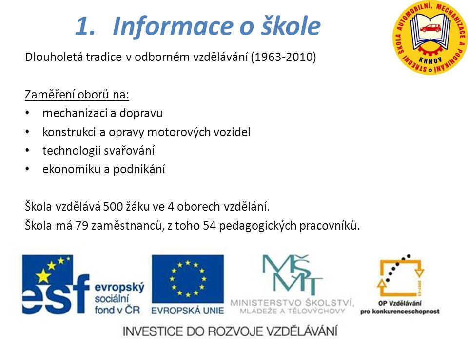 Informace o škole Dlouholetá tradice v odborném vzdělávání (1963-2010)