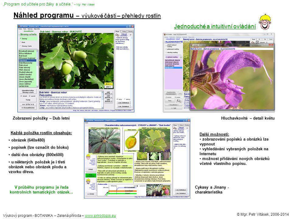 Náhled programu – výukové části – přehledy rostlin