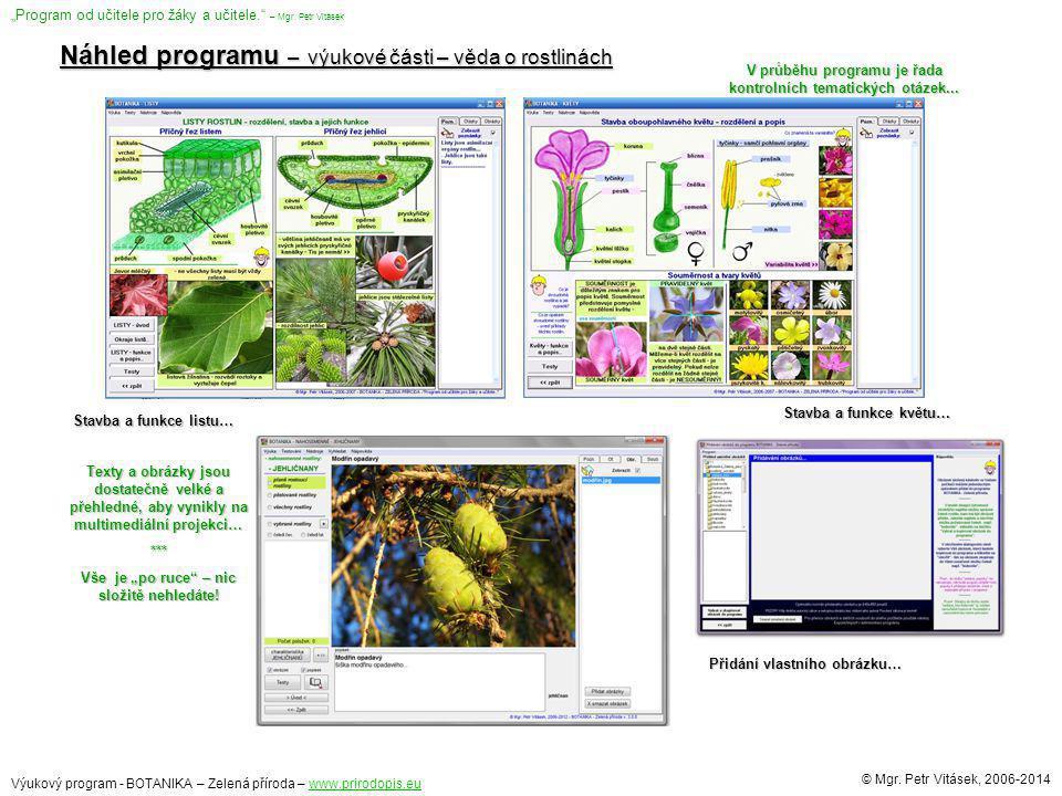 Náhled programu – výukové části – věda o rostlinách