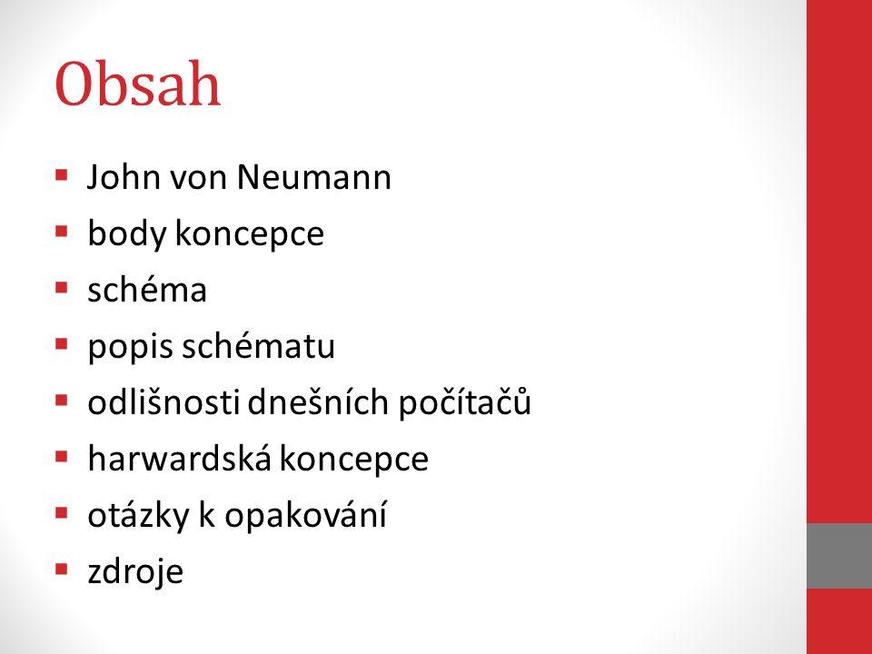 Obsah John von Neumann body koncepce schéma popis schématu