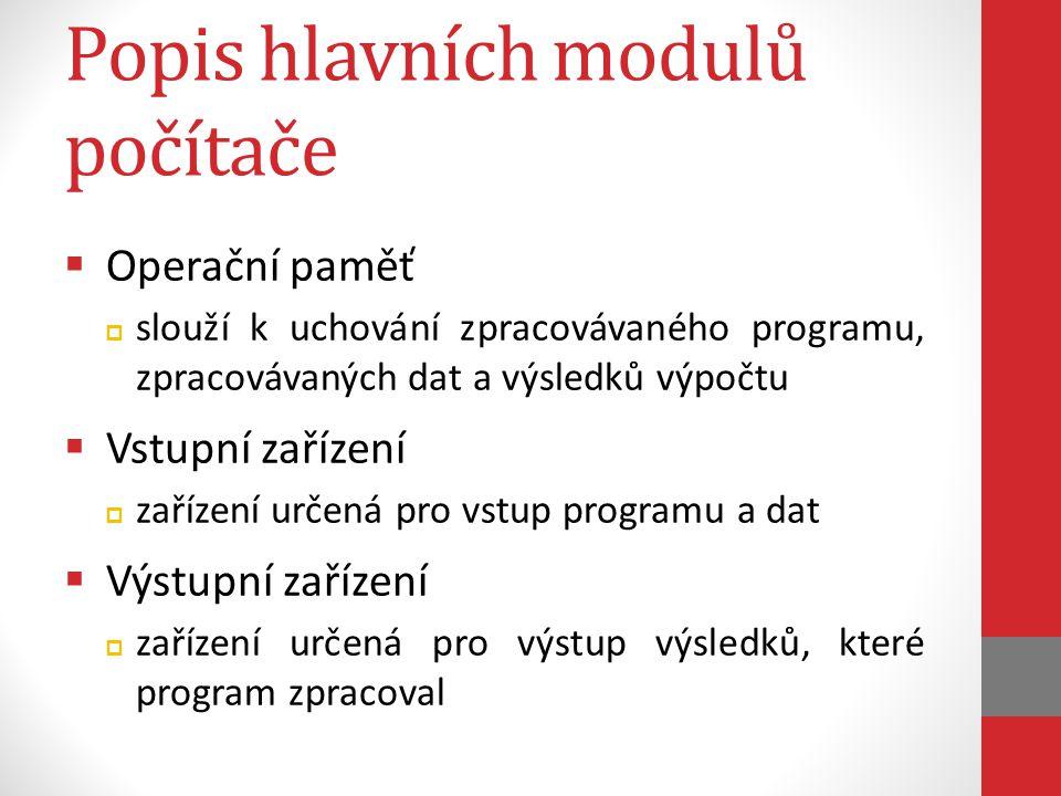 Popis hlavních modulů počítače