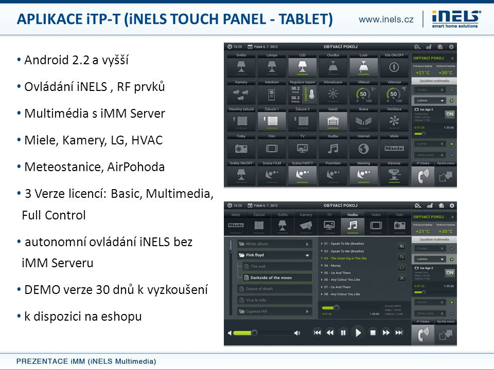 APLIKACE iTP-T (iNELS TOUCH PANEL - TABLET)