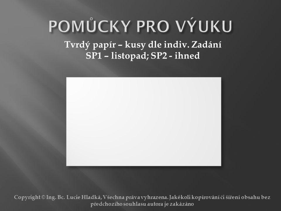 Tvrdý papír – kusy dle indiv. Zadání SP1 – listopad; SP2 - ihned