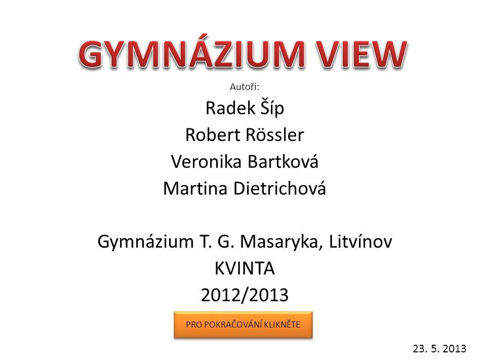 GYMNÁZIUM VIEW Radek Šíp Robert Rössler Veronika Bartková