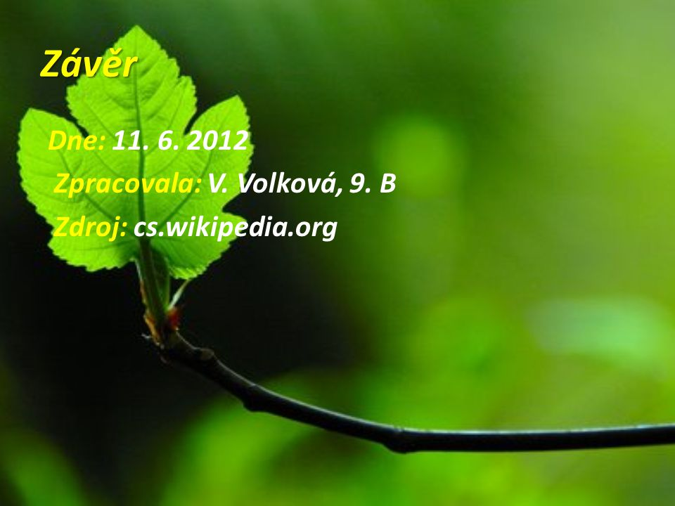 Závěr Dne: 11. 6. 2012 Zpracovala: V. Volková, 9. B Zdroj: cs.wikipedia.org