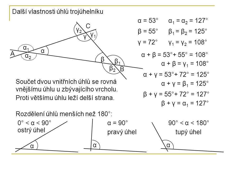 Další vlastnosti úhlů trojúhelníku