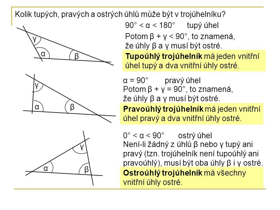 Kolik tupých, pravých a ostrých úhlů může být v trojúhelníku