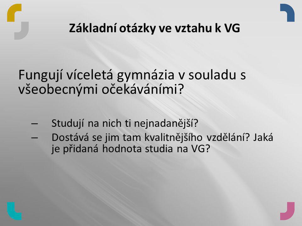 Základní otázky ve vztahu k VG