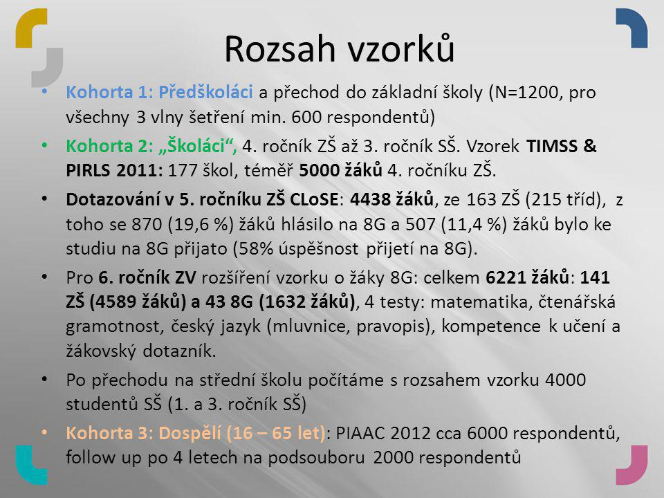 Rozsah vzorků Kohorta 1: Předškoláci a přechod do základní školy (N=1200, pro všechny 3 vlny šetření min. 600 respondentů)