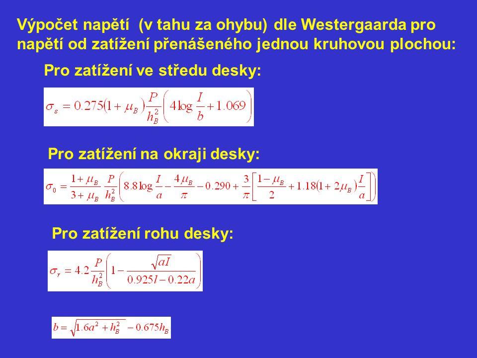 Výpočet napětí (v tahu za ohybu) dle Westergaarda pro