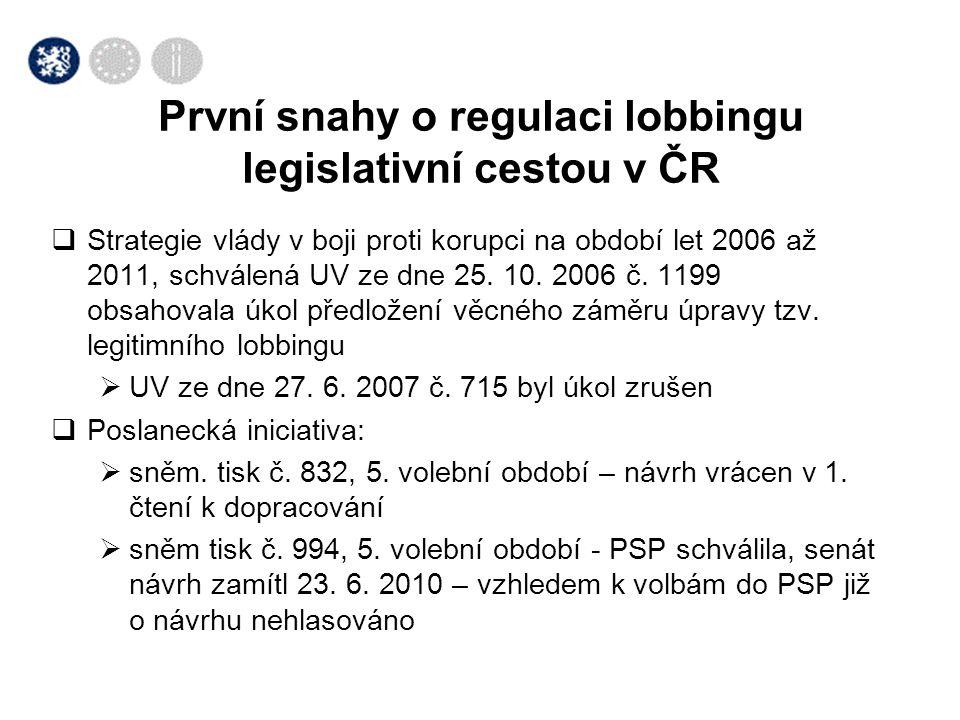 První snahy o regulaci lobbingu legislativní cestou v ČR