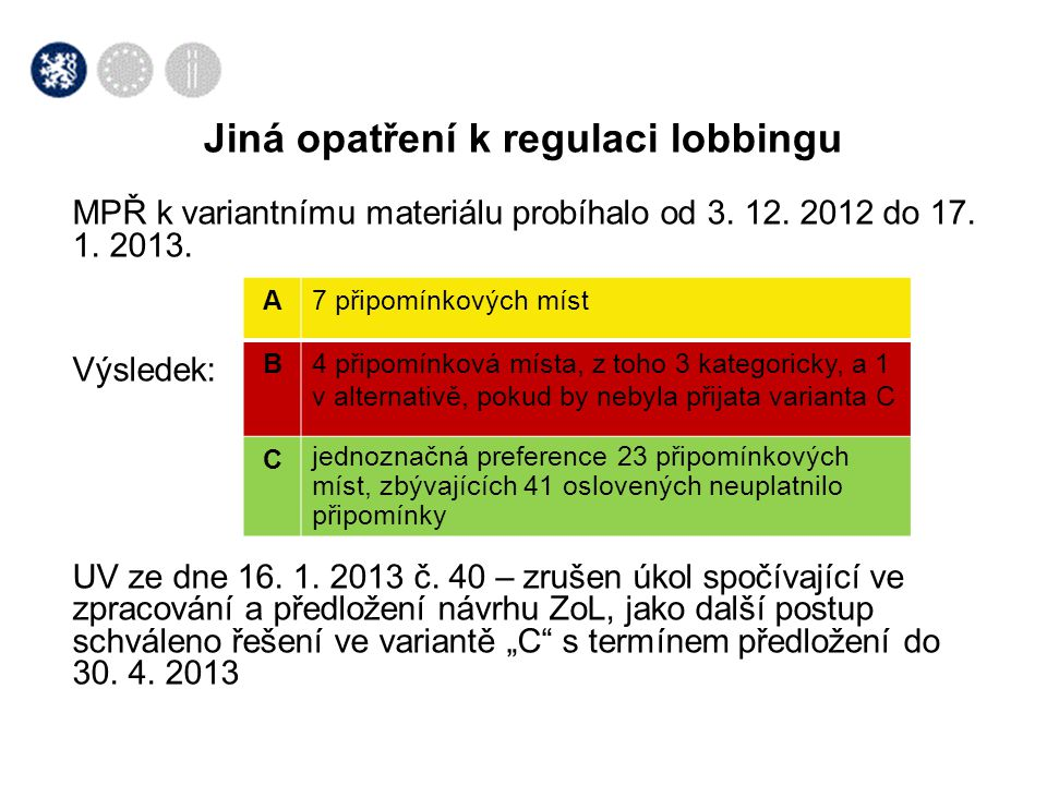 Jiná opatření k regulaci lobbingu