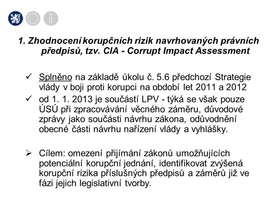 1. Zhodnocení korupčních rizik navrhovaných právních předpisů, tzv