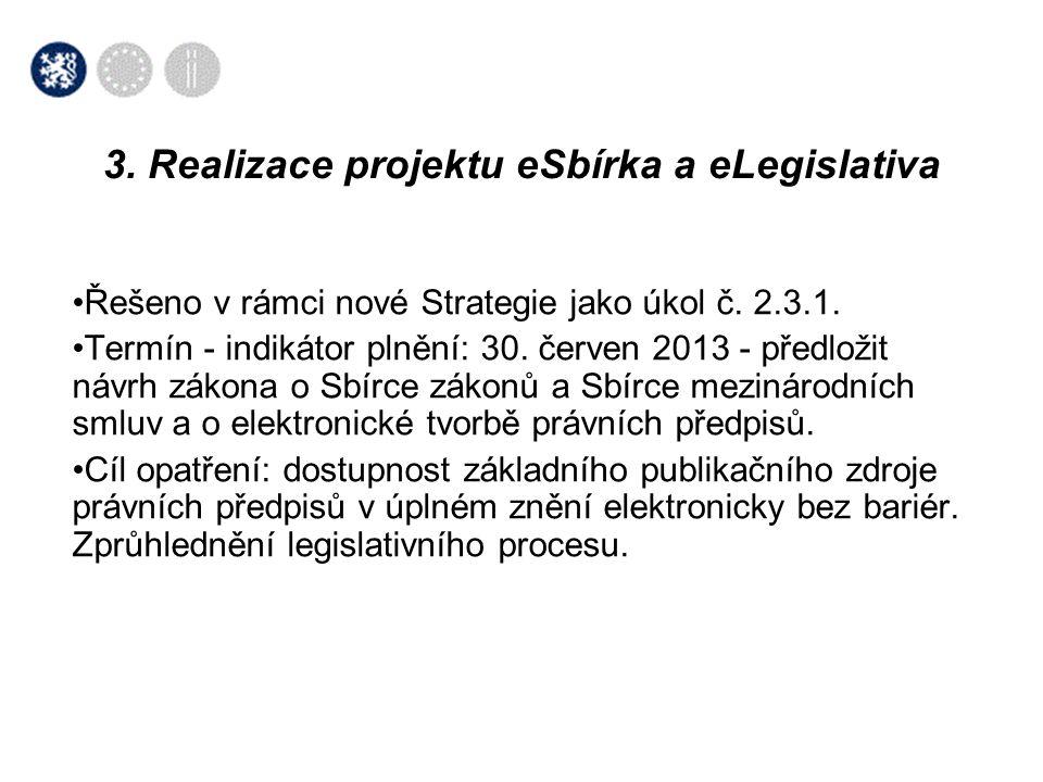 3. Realizace projektu eSbírka a eLegislativa