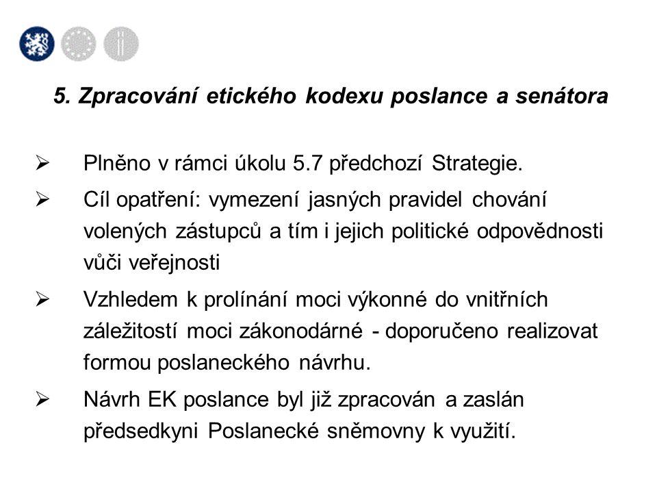 5. Zpracování etického kodexu poslance a senátora