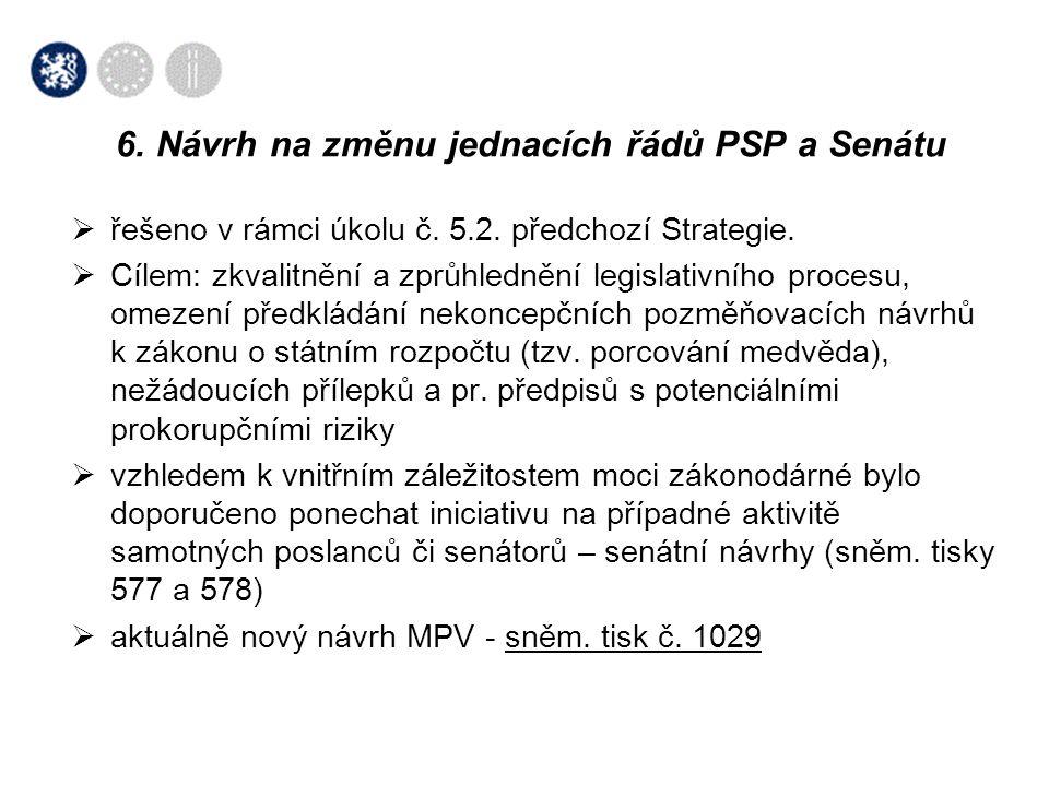 6. Návrh na změnu jednacích řádů PSP a Senátu
