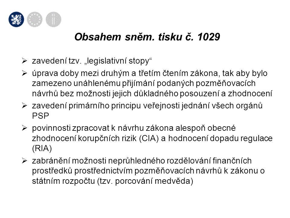 """Obsahem sněm. tisku č. 1029 zavedení tzv. """"legislativní stopy"""