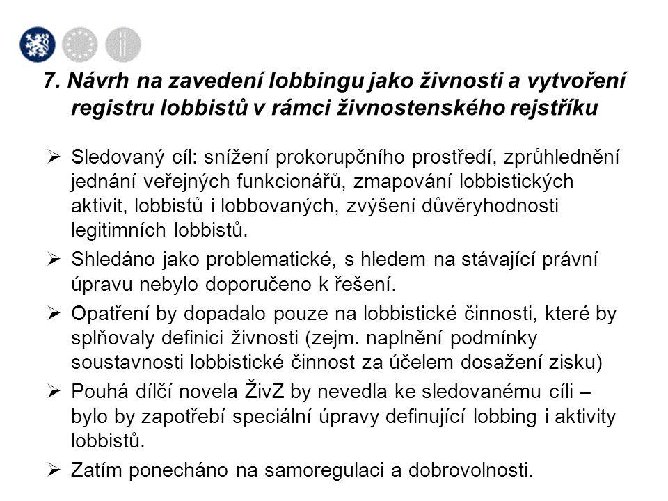 7. Návrh na zavedení lobbingu jako živnosti a vytvoření registru lobbistů v rámci živnostenského rejstříku