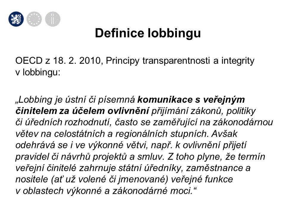 Definice lobbingu OECD z 18. 2. 2010, Principy transparentnosti a integrity v lobbingu: