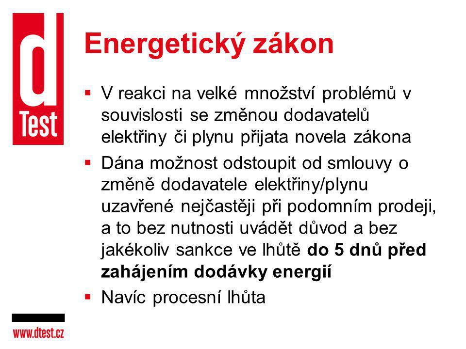 Energetický zákon V reakci na velké množství problémů v souvislosti se změnou dodavatelů elektřiny či plynu přijata novela zákona.