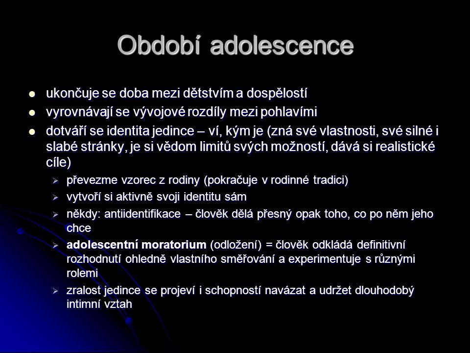 Období adolescence ukončuje se doba mezi dětstvím a dospělostí