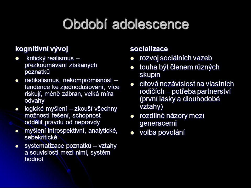 Období adolescence kognitivní vývoj