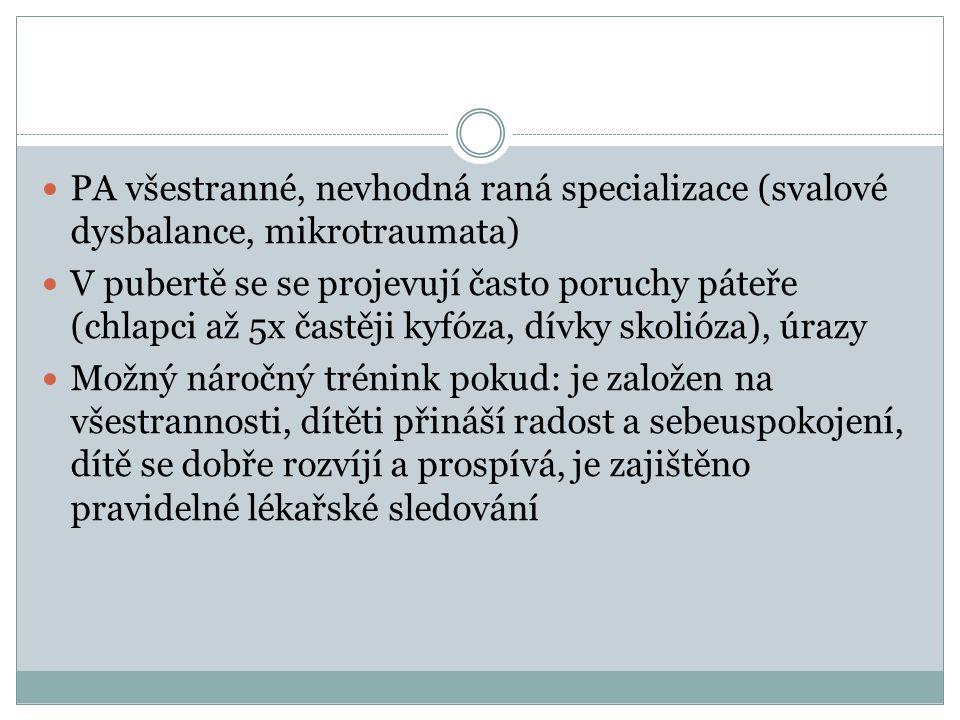 PA všestranné, nevhodná raná specializace (svalové dysbalance, mikrotraumata)