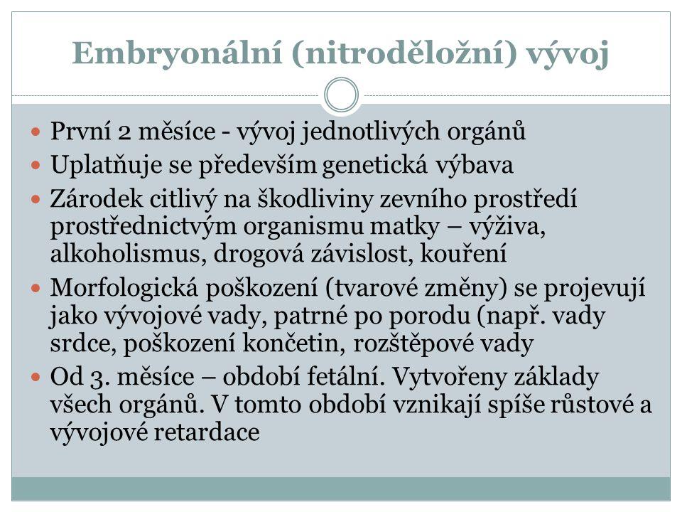 Embryonální (nitroděložní) vývoj