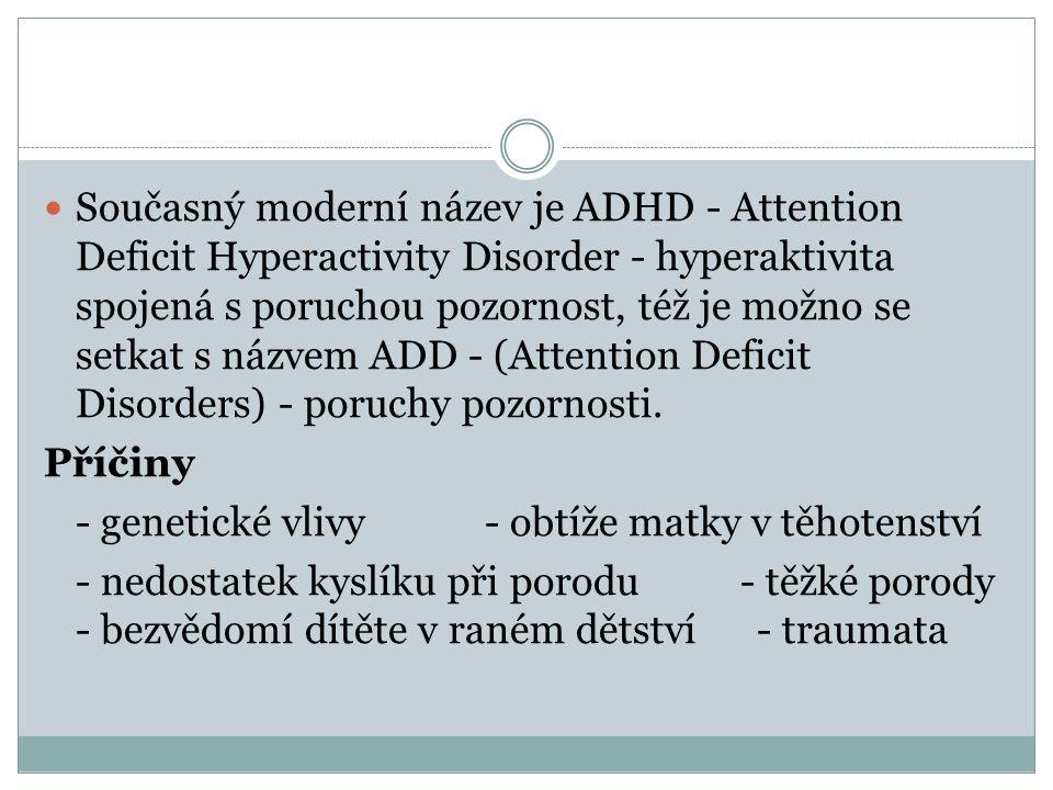 Současný moderní název je ADHD - Attention Deficit Hyperactivity Disorder - hyperaktivita spojená s poruchou pozornost, též je možno se setkat s názvem ADD - (Attention Deficit Disorders) - poruchy pozornosti.
