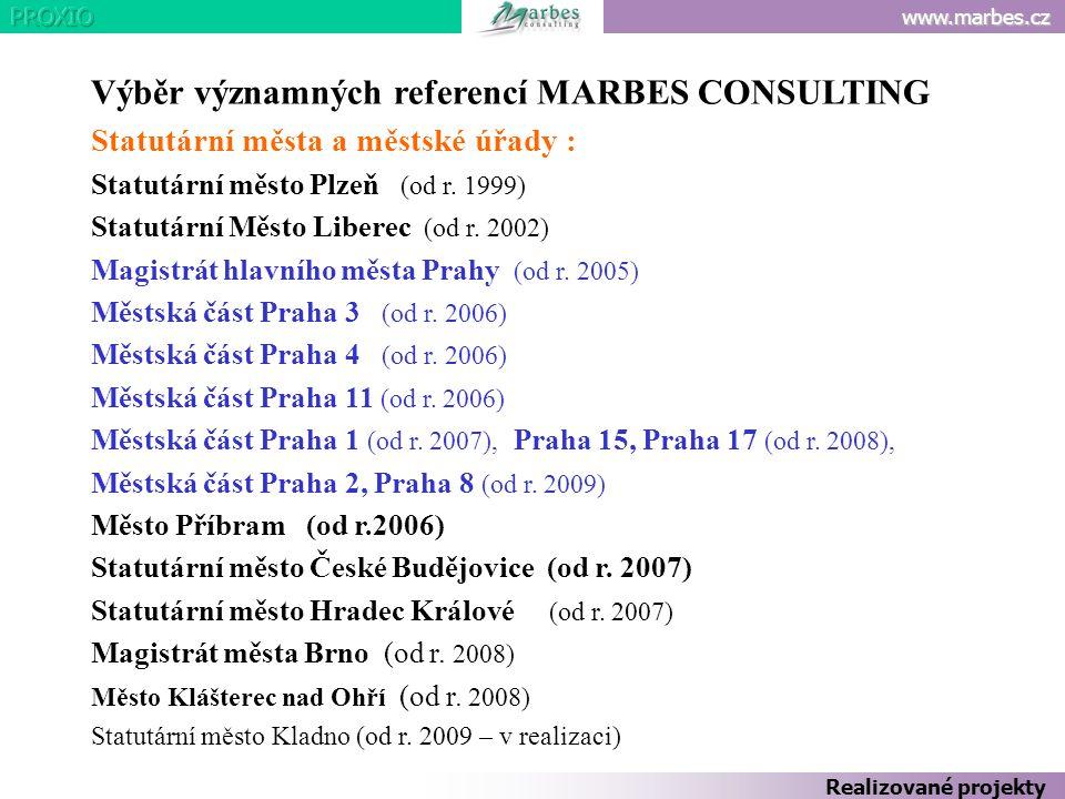 Výběr významných referencí MARBES CONSULTING