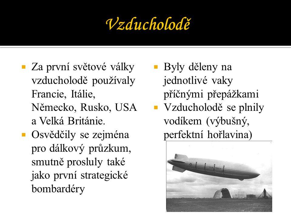 Vzducholodě Za první světové války vzducholodě používaly Francie, Itálie, Německo, Rusko, USA a Velká Británie.